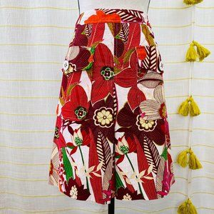 Etcetera A-Line Floral Skirt Womens 12 Pockets